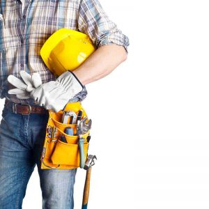 Home Remodeler with Safety Helmet and Tool Belt