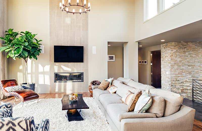 Beautiful Living Room with Drywall Walls, Hardwood Floors & Fireplace
