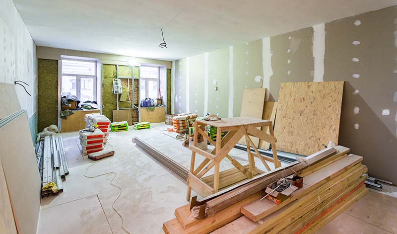 Working Process of Installing Metal Frames for Drywall During Apartment Remodeling