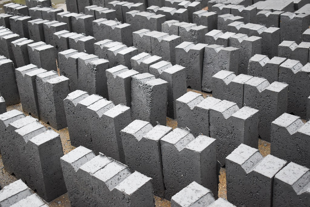 Fly Ash Bricks Drying at Manufacturing Site